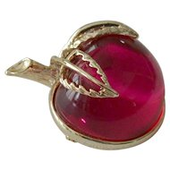 "Sarah Coventry  ""Burgundy"" Red Apple Pin 1972"