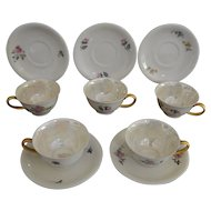 Set of Five Mid Century Porcelain Demitasse Cups and Saucers Hertel-Jacob Bavaria