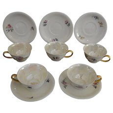 Set of Five Mid Century Porcelain Demitasse Cups and Saucers Hertel-Jacob Bavaria