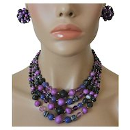 Japan Four Strand Necklace and Clip Earrings Set Purple Blue and Art Beads