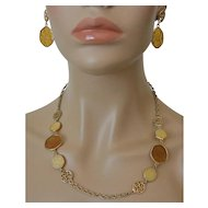 """""""Taste Of Honey"""" Necklace and Post Earrings Set Sarah Coventry 1974"""