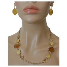 """Taste Of Honey"" Necklace and Post Earrings Set Sarah Coventry 1974"
