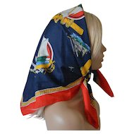 Clipper Ships Theme Scarf Navy Red Gold