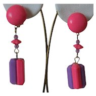 Hot Pink and Purple Hong Kong Clip Earrings