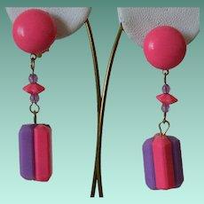 Hot Pink and Purple Hong Kong Clip Earrings
