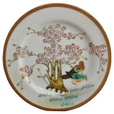 Occupied Japan CPO Porcelain Plate Birds with Spring Blossom Tree