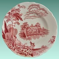 "Thomas Hughes & Son Red ""Eden Pattern"" Salad Plate"