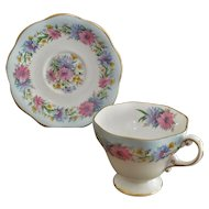 """E.B. Foley """"Cornflower"""" in Blue #2845 Cup and Saucer set"""