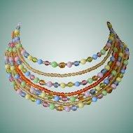 "Seven Strands Beads Necklace Signed ""Japan"""