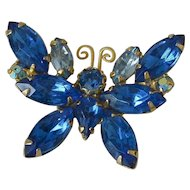 Sapphire Blue Marquis Rhinestones Butterfly Pin