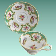 "Grosvenor China ""Rutland"" Green Pattern No 8761 Cup and Saucer Set"