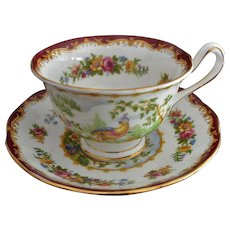 "Royal Albert ""Chelsea Bird"" Maroon Cup and Saucer Set"