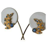 Retro Style Blue Rhinestone Screw Back Earrings