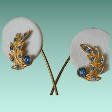 Retro Style Blue Rhinestone Screw Back Earrings