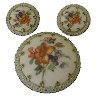 Western Germany Faux Porcelain Sugar Pin and Clip Earrings Set