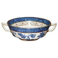 """Booths """"Real Old Willow"""" Blue No A 8025 Flat Cream Soup Bowl with Gilt"""
