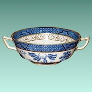 "Booths ""Real Old Willow"" Blue No A 8025 Flat Cream Soup Bowl with Gilt"