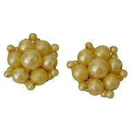 Yellow Faux Pearls Cluster Earrings