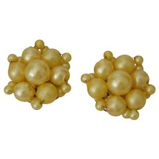 Yellow Faux Pearls Cluster Earrings