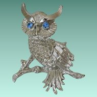 Blue Eyed Rhinestones Owl Figure Pin