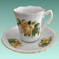 Yellow Roses Demitasse Cup Saucer Set