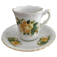 Yellow Roses Demitasse Cup Saucer Set