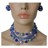 Six Strand Japan Beads Faux Pearls Necklace Clip Earrings Set Blue Lavender