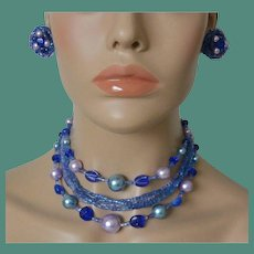 Blue Lavender Beads Necklace and Clip Earrings Set Signed Japan