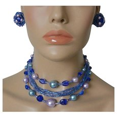 Six Strand Japan Beads Faux Pearls Necklace and Clip Earrings
