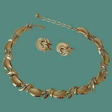 Crown Trifari 1960's Gold Tone Necklace and Earrings Set