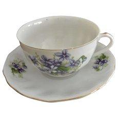 Yoko Boeki Co Japan Hand Painted Violet Flowers Porcelain Tea Cup and Saucer