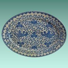 Morimura Bros.14.75 Inch Blue and White Phoenix Bird and Flowers Platter