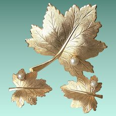 Signed Sarah Cov. Maple Leaf Faux Pearls Brooch Pin and Clip Earrings