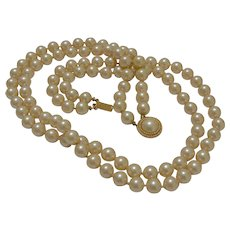 Signed Crown Trifari Two Strands Faux Pearls Necklace