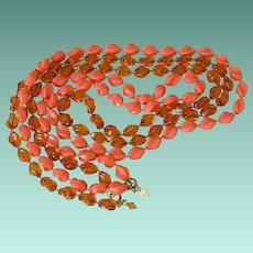 "Sarah Coventry ""Holiday"" Beads Necklaces in Tortoise and Coral"