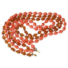 """Sarah Coventry """"Holiday"""" Beads Necklaces in Tortoise and Coral"""