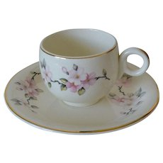 Homer Laughlin Swing Shape Eggshell Apple Blossoms Demitasse Cup and Saucer