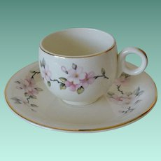 Homer Laughlin Swing Shape Eggshell Apple Blossoms Demitasse Cup and Saucer