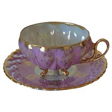 Lattice Design Luster Ware Royal Sealy Tea Cup and Saucer Set