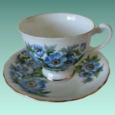 Clarence English Bone China Cup and Saucer No 596/71 Blue Flowers