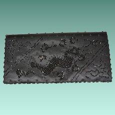 Sequined Dragon Black Satin Clutch Purse Hand Made Hong Kong