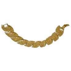 Signed Napier Golden Leaves Link Bracelet