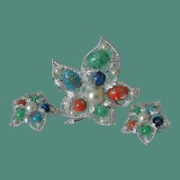 "Sarah Coventry ""Fantasy"" Brooch and Clip Earrings Set"