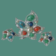 """Sarah Coventry """"Fantasy"""" Brooch and Clip Earrings Set"""