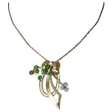 Retro Green Rhinestones Pendant Necklace