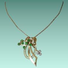 Retro Green Rhinestones Pendant Necklace