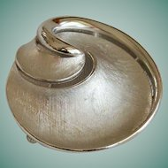 Signed Crown Trifari Swirl Brooch Pin in Silver Tone
