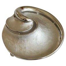 Signed Crown Trifari Swirl Brooch Pin in Silver Tone