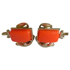 Coral Theme Thermoset Clip Earrings