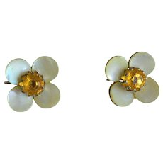 Mother of Pearl Floret Amber Rhinestone Screw Back Earrings